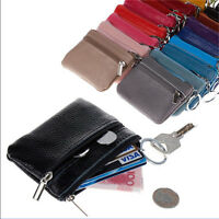 WOMENS MENS Mini Small Soft Leather bag/pouch/wallet/coin/Key/purse /zip COLORS