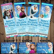 Personalized Disney Frozen Birthday Ticket Invitations or 4x6 Thank You