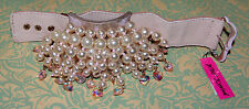 NWT BETSEY JOHNSON PINKTINA LIGHT PINK Pearl CLUSTER STATEMENT BRACELET