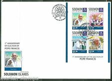 SOLOMON ISLANDS 2014 1st ELECTION  ANNIVERSARY OF POPE FRANCIS SHEET  FDC