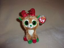 """TY MWMT ALPINE THE REINDEER BEANIE BOO- 6"""" BOOS- CROOKED NOSE &MOUTH, STILL CUTE"""