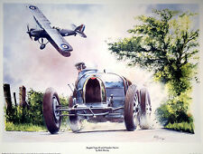 MR3 Bugatti Type 35 & Hawker Hector Beautiful Motoring Classic Car Print Poster