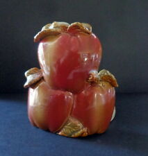 Ceramic Paper Towel Holder THREE LARGE RED APPLES For Your Cottage or Bungalow