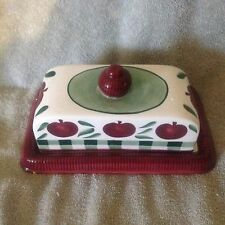 CERAMIC BUTTER DISH BURGUNDY, IVORY AND GREEN WITH APPLES