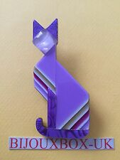 "LEA STEIN ""DECO"" CAT  BROOCH. Free post worldwide."