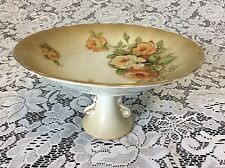 Ucagco Japan Ceramic Gold Rim Painted Floral Footed Compote Candy Dish
