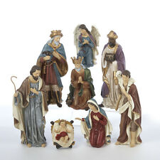 "KURT S. ADLER HAND PAINTED 9"" RESIN 8 PIECE NATIVITY SET CHRISTMAS DECORATION"