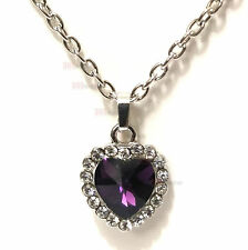 "Heart of the Ocean Silver Plated Purple Amethyst color Cristal 20"" Necklace"
