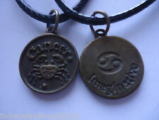 1 x Zodiac CANCER Sign Antique Bronze Plated Metal Jewelry Pendant Necklace