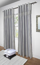 Diamante Curtains Pair Of Lined Faux Silk Ready Made Eyelet - Black Silver White