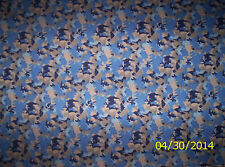 New Blue Camo cotton flannel fabric by the 1/4 yard (Camouflage) Camelot Cottons