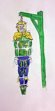 "Maximo 1993 ""Hanging Torture"" ORIGINAL Ink Sketch for Wax Museum Figure - 21"