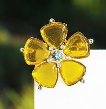 MONET signed gold tone flower olivine green acrylic petals   BROOCH
