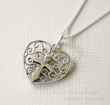 925 Sterling Silver Heart Cross Pendant Necklace With Chain & Gift Box