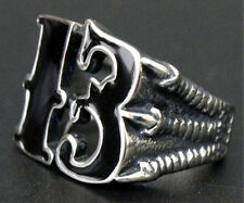 BAD LUCK LUCKY NUMBER 13 STAINLESS STEEL RING SIZE 10 outlaw biker 1%er jewelry