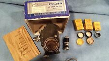 FILMO Sportster Bell & Howell Eight MM Movie Camera Box Lens Filters