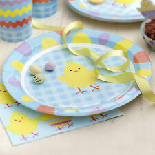 """8 EASTER CHICK PAPER PLATES 9"""" 23cm Celebration Party Buffet Eggs Yellow Blue"""