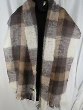 Vintage Mohair Plaid Fringed Shawl Wrap Cream Tan Scotland Hudson's