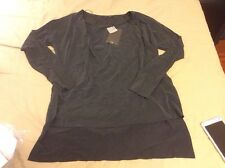 Zara Cupro T-Shirt With Pleated Shoulder Size M Chaecoal
