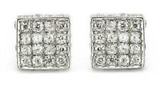 STERLING SILVER CUBIC ZIRCONIA WHITE CZ SQUARE HUGGIE CUBE STUD EARRINGS