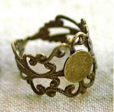 20PCS Antiqued Bronze Adjustable Filigree Ring Blanks 18mm #22531