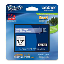 Brother TZ135 TZe135 12mm P-touch white on clear GL200 PT1005BTS PT1290DT PT7100