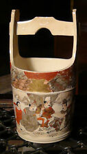 PAIR ANTIQUE JAPANESE MEIJI PERIOD SATSUMA VASE CONTEINER  SHAPE OF RISE BUCKET
