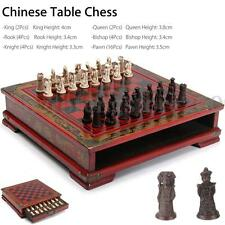 32Pcs/Set Resin Chinese Contemporary Chess + Wooden Table Vintage Christmas Gift