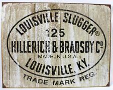 LOUISVILLE SLUGGER 125 LOGO METAL SIGN Baseball Bat Ad NEW Vintage Repro USA Tin