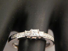 3 Stone Princess Diamond Engagement Ring 14k White Gold .32 tcw G/SI eye clean
