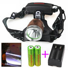 6000LM CREE XM-L T6 LED Rechargeable  Headlamp Headlight Charger 2x18650 Battery