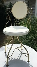 Vintage shabby chic vanity chair White & brass Hollywood Regency Swivel Seat