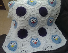 NEW CROCHET OWL PATTERN BABY AFGHAN BLANKET, BLUES