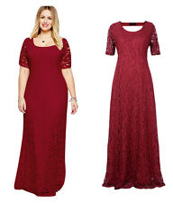 01 Burgundy Women Lady Lace Long Maxi Formal Evening Party dress Plus Size 20W