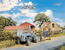 Over Here Beautiful Print Picture Painting Tractor Ferguson Planes Bombers