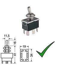 Deviatore levetta leva bipolare 2 posizioni ON-ON faston 6,3mm 250V 10A-125V 15A