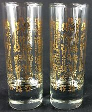Vintage Tall Narrow Southern Comfort Shot Glasses Gold Metallic Decor
