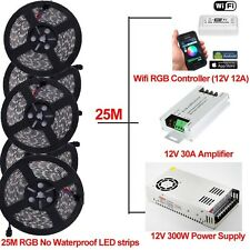25M Synchronously LED Strip Light 5050 RGB&Wifi Controller By Phone APP& Power