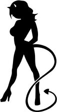 "SEXY DEVIL GIRL SYMBOLIC Vinyl Decal Sticker-6"" Tall White Color"