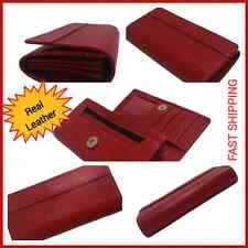 Ladies' Leather Wallet Red Multi Credit Card ID holder Zipper & Open Pockets