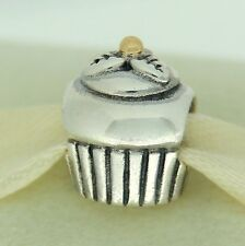 Authentic Pandora 790417 Cupcake 14K Gold & Sterling Silver Bead Charm