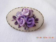 Violet rose paste brooch set in a silver tone setting, simple catch