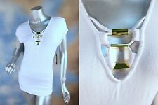 NEW GUESS JEANS white ribbed peek a boo gold hardware blouse top shirt SZ: XL