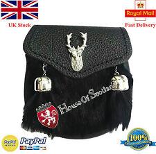 New Child's Kilt Sporran Black Rabbit Fur Stag Head/Baby Dress Kilt Sporran/Kids
