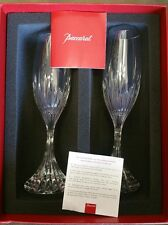 BACCARAT MASSENA CRYSTAL CHAMPAGNE FLUTES - (PAIR)