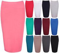 Womens New Stretch Ladies Wiggle Pencil Tube Bodycon Plain Office Midi Skirt