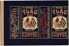 TIN CAN LABEL VINTAGE COFFEE ORIGINAL C1900 FLAG CUBA EAGLE SPANISH AMERICAN WAR