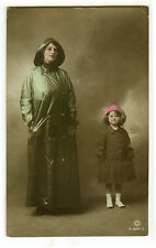1910's Vintage GLADYS COOPER Theater Beauty with Daughter Joan photo postcard