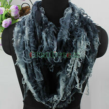 Women Broken Butterfly Special Hole Infinity Scarf Travel Loop Cowl Snood Shawl