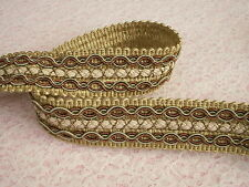 Celadon and Chocolate Brown Braid Trim, Home Decor, Upholstery, Passementerie